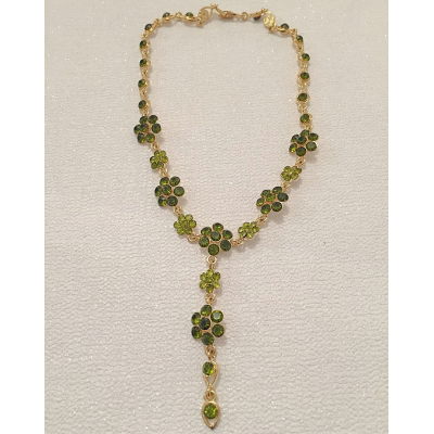 SALE ITEM - CRYSTAL DROP NECKLACE  - PERIDOT GREEN - (510)