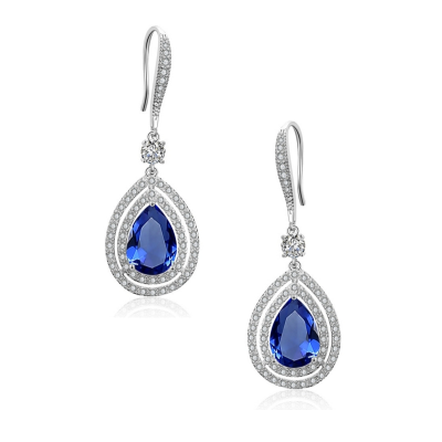 CUBIC ZIRCONIA COLLECTION - CHIC STARLET EARRINGS - CZER462 SAPPHIRE BLUE