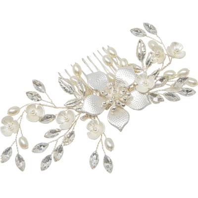 ATHENA COLLECTION -EXQUISITE ROMANCE HAIR COMB - SILVER - HC161