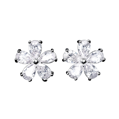 CUBIC ZIRCONIA COLLECTION - DECO FLORAL STUDS - SILVER CZER579