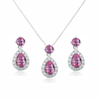 CUBIC ZIRCONIA COLLECTION - DAZZLING CRYSTAL DROP NECKLACE SET - (CZNK55) PINK