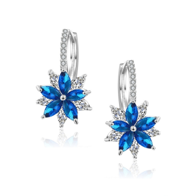 CUBIC ZIRCONIA COLLECTION - PETITE CRYSTAL SPARKLE EARRINGS - CZER461 SAPPHIRE