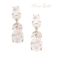 CUBIC ZIRCONIA COLLECTION - CRYSTAL STARLET EARRINGS - CZER501 ROSE GOLD