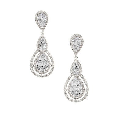 CUBIC ZIRCONIA COLLECTION - CRYSTAL TREASURE EARRINGS - CZER430