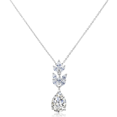 CUBIC ZIRCONIA COLLECTION  - STARLET CHIC NECKLACE - SILVER - CZNK86