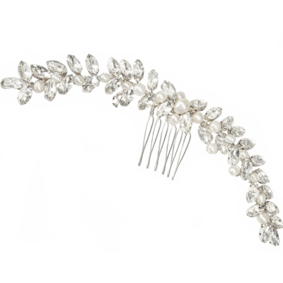 ATHENA COLLECTION - CHIC PEARL HAIR COMB - HC208  SILVER