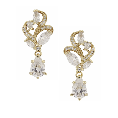 CUBIC ZIRCONIA COLLECTION - BEJEWELLED EARRINGS - ER312 (GOLD)
