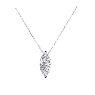 CUBIC ZIRCONIA COLLECTION - CRYSTAL GEM NECKLACE - SILVER  CZNK71