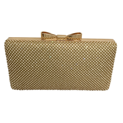 VINTAGE CRYSTAL BOW CLUTCH -GOLD