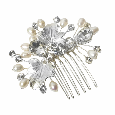 ATHENA COLLECTION - CRYSTAL EMBELLISHED  HAIR COMB - HC172 SILVER
