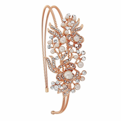 VINTAGE FLORAL HEADBAND - HB404 ROSE GOLD
