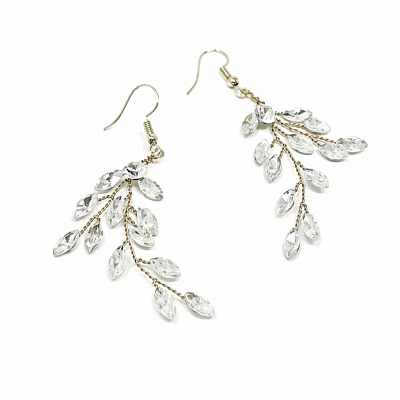 ATHENA COLLECTION - CRYSTAL VINE EARRINGS - (ER487) SILVER
