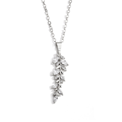 CZNK139 CUBIC ZIRCONIA COLLECTION -- DAINTY STARLET NECKLACE- CZNK139 (SILVER)