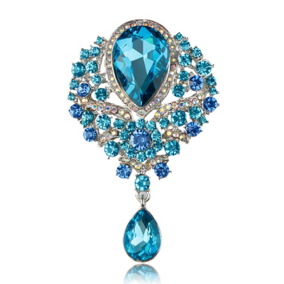 ATHENA COLLECTION - SHIMMERING STARLET BROOCH - (BROOCH 161) AQUA