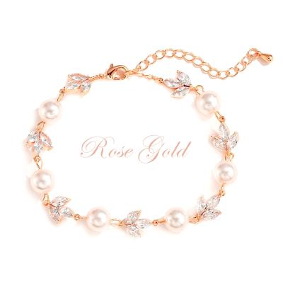 CUBIC ZIRCONIA COLECTION - SHIMMER PEARL BRACELET - BR113 ROSE GOLD