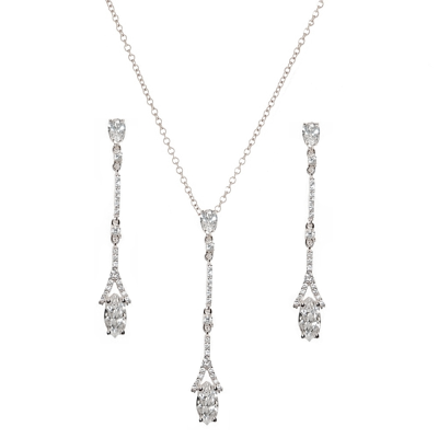 CUBIC ZIRCONIA COLLECTION - DAINTY SPARKLE NECKLACE SET - CZNK60 SILVER