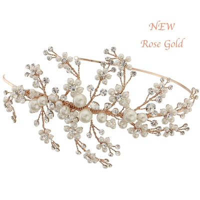 Darcey Wedding Headband - SASSB-HDB13 ROSE GOLD