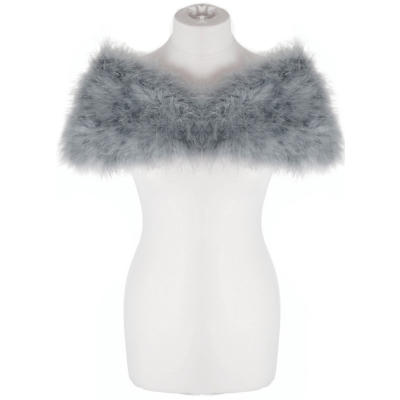VINTAGE INSPIRED MARABOU FEATHER STOLE - GREY (SG1)