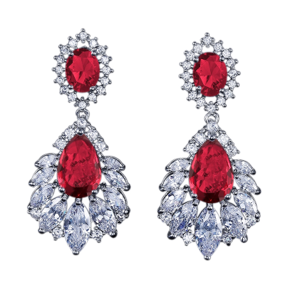 CUBIC ZIRCONIA - STARLET GLAM EARRINGS - RED - (CZER480)
