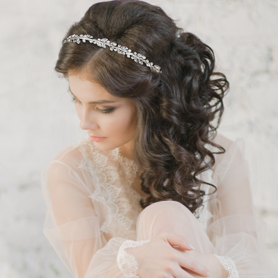 ATHENA COLLECTION - LUXE FRESHWATER PEARL HEADBAND - AHB113 SILVER