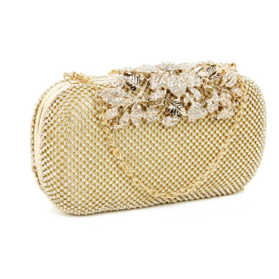 VINTAGE VINE - CRYSTAL CLUTCH BAG - GOLD