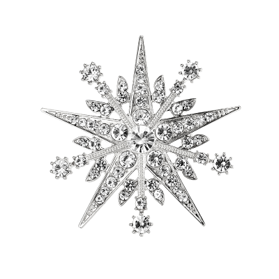 ATHENA COLLECTION - CRYSTAL STARBURST BROOCH - SILVER - BROOCH 49