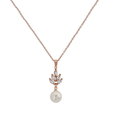 Cubic Zirconia Collection - Vintage Pearl Drop Necklace - ROSE GOLD CZNK25